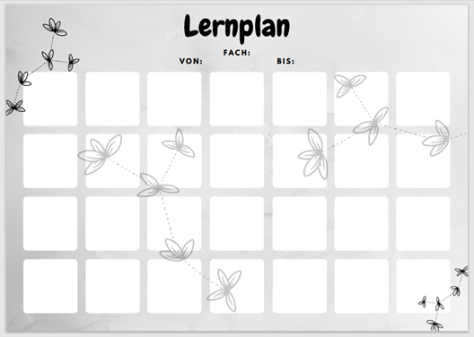 Lernpläne kostenlos downloaden. Verschiedene Farben und Versionen. Lernplan Version 2 in schwarz-weiß